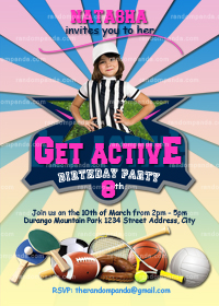 Get Active Invitation, Sports Party, Girls Sports Birthday, Soccer Invite