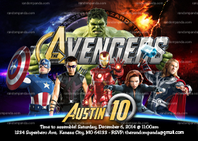 Avengers Invitation, The Avengers Party, The Avengers Invite
