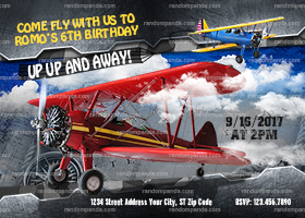 Airplane Pilot Invitation, Retro Biplane Party Invite, ADD Aviator Hat