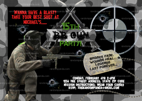 BB Gun Invitation, Combat and Camo, Pellet Gun Party invite