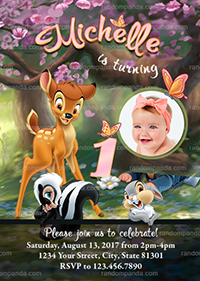 Personalize Pink Bambi and Thumper Invitation, Baby Deer Birthday Party Invite