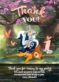 Pink Bambi and Thumper Thank You Card, Bambi Party Thanks Note