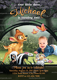 Personalize Bambi Invitation, Bambi Thumper Birthday Party Invite