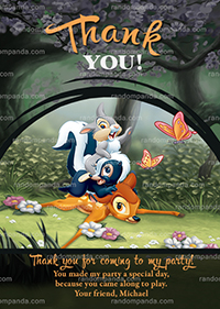 Bambi and Thumper Thank You Card, Bambi Party Thanks Note