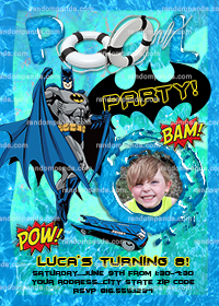 Personalize Batman Pool Party Invitation, Batman Birthday Party Invite
