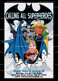 Batman Invitation, Superhero Party, Batman and Robin Party invite