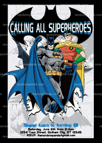 Batman Invitation, Batman and Robin Party invite, Superhero Party