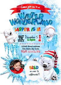 Winter Wonderland invitation, Personalize Polar Bear Party, Snowball Fight Invite