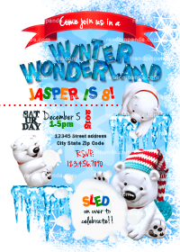 Winter Wonderland invitation, Polar Bear Party, Polar Bear Snowball Fight Invite
