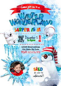 Winter Wonderland invitation, Personalize Penguin Party, Polar Bear Snowball Invite