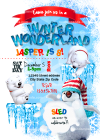 Winter Wonderland invitation, Penguin Party, Polar Bear Snowball Fight Invite