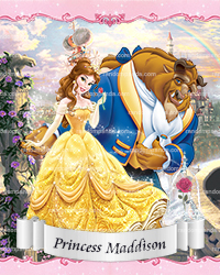 Personalize Kids Poster, Beauty and the Beast Poster, Princess Belle Party Wall Art