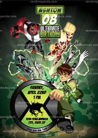 Ben 10 Invitation, Ben 10 Party, Ben 10 Invite