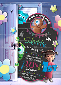 Boo Party Invitation, Monsters Inc Birthday Invite