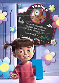 Monsters Inc Thank you Card, Boo Party, Monsters Inc Birthday Thanks Note