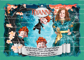Personalize Brave Invitation, Brave Costume Party, Princess Merida Birthday Invite