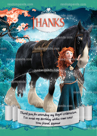Brave Thank You Card, Disney Princess Thanks, Merida Thank You Note