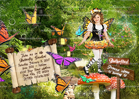 Personalize Butterfly Invitation, Butterfly Princess Party, Butterflies Costume Invite