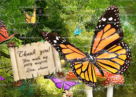 Butterfly Thank You Card, Butterfly Princess Party, Butterflies Birthday Thanks Note
