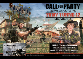 Call Of Duty Invitation, Black Ops Party, Call of Duty invite
