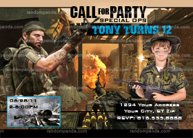 Call Of Duty Invitation, Black Ops Party, Call of Duty War invite