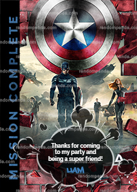 Captain America Thank You Card, Superhero Thanks, Captain A Thank You Note