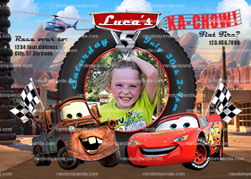 Personalize Cars Invitation, Lightning McQueen Party, Mater Truck Invite