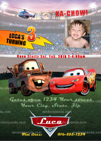 Disney Cars Invitation, Cars Party, Lightning McQueen Invite