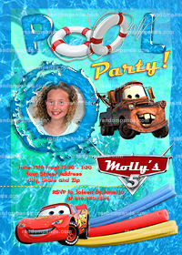Disney Cars Invitation, Cars Swimming Pool Party, McQueen Invite