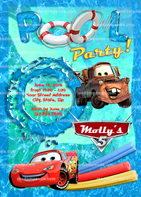 Disney Cars Invitation, McQueen Invite, Cars Swimming Pool Party
