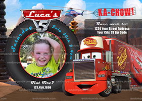 Personalize Disney Cars Invitation, Mack Truck Party, Mack Truck Invite