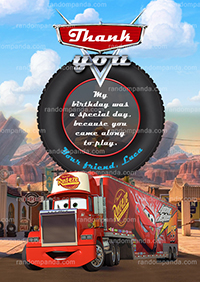 Cars Thank You Card, Mack Truck Thanks, Disney Cars Thank You Note