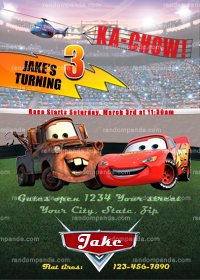 Disney Cars Invitation, Lightning McQueen Invite, Cars Party