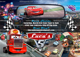 Cars Invitation, Mater Truck Party, Lightning McQueen Invite