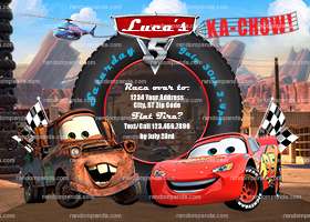 Cars Invitation, Lightning McQueen Party, Mater Invite