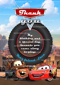 Cars Thank You Card, Lightning McQueen Thanks, Mater Thank You Note