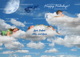 Santa Sleigh, Personalize Sleeping in Clouds Christmas Card