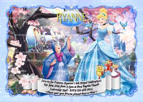 Cinderella Invitation, Blue Silver Princess Party, Cinderella Birthday Invite