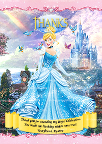 Cinderella Thank You Card, Disney Princess Thanks, Cinderella Thank You Note