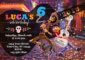 Coco Invitation, Miguel and Hector Party, Coco Birthday Invite