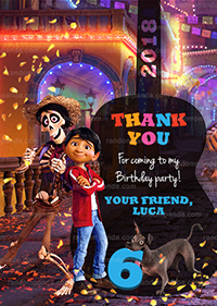 Coco Thank You Card, Miguel and Hector Party, Coco Birthday Thanks Note