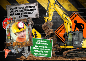 Construction invitation, Builder Invite, Digger Party, Add Hard Hat