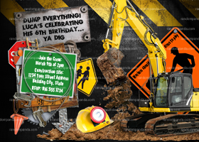 Construction invitation, Builder Invite, Digger Party
