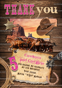 Cowgirl Thank You Card, Pink Western Party, Wild West Horse Birthday Thanks Note