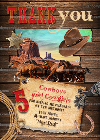 Cowboy Thank You Card, Western Party, Wild West Horse Birthday Thanks Note