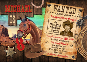 Personalize Cowboy Invitation, Western Wanted Party, Wild West Horse Birthday Invite