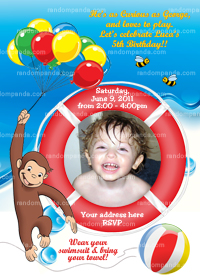 Curious George Invitation, Curious George Pool Party Invite