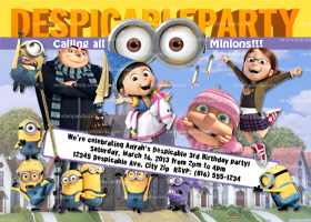 Despicable Me Invitation, Minion Party, Minions Birthday Invite