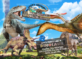 Dinosaurs Invitation, Pterodactyl Birthday Invite, Jurassic Dinosaur Party