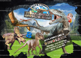 Dinosaur Invitation, Ride T Rex Birthday Invite, Jurassic World Party